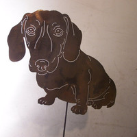 Unique Dachshund Metal art Doxie garden sculpture dog lovers gift / pet memorial