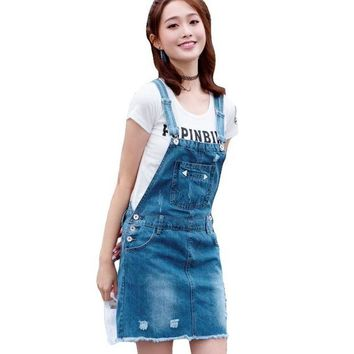 DCCKKFQ New 2017 summer fashion female strap skirt Korean girl slim denim skirt break hole leisure adjustable shoulder strap skirt XXL