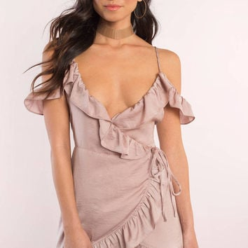 Forever Off Shoulder Satin Dress