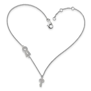 Rhodium Plated Sterling Silver CZ Lock And Key Cable Anklet, 9-10 Inch