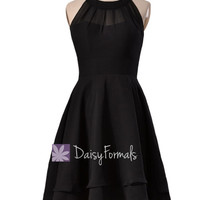 Short Black Prom Dress Little Black Party Dress Short High Low Black Chiffon Formal Dress (CST1004)