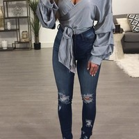 Silver Ruffle Ribbons Long Sleeve Fashion Polyester Blouse