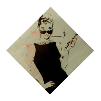 BLOODBATH at TIFFANYS Vrsn 5 Audrey Hepburn Breakfast at Tiffanys DIAMOND Version on Canvas Street Art Graffiti Pop Art Inspired Original
