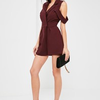 Missguided - Burgundy Arm Band Detail Blazer Romper