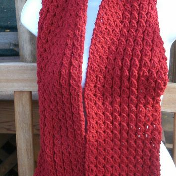 Hand Knit Scarf - The Cable Scarf in Cranberry - Knit Scarves
