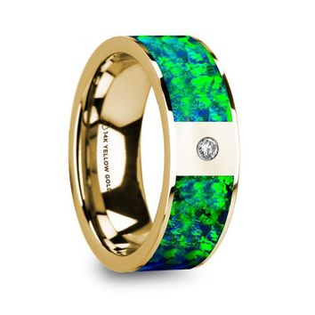 Green Blue Opal Inlay 14K Yellow Gold Ring with Diamond