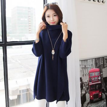 2016 Autumn Winter Pullover Sweater for Women Preppy Style Turtle Neck Causal Sweaters and Pullovers Knitted Sweaters Knitwear