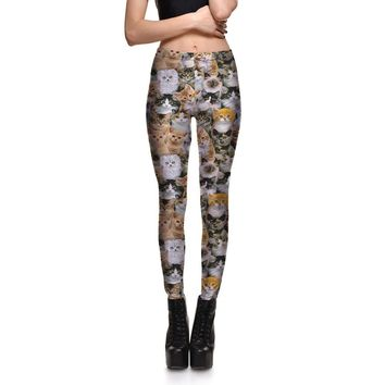 Womens Cute Cat Digital Print Slim Fitness Workout Leggings For Ladies Fashion Active Beauty Bodycon Skinny Pencil Pants S-4XL
