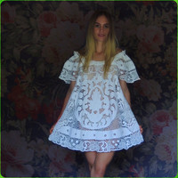 Cute mini lace open work dress in white cotton / Sheer and very detailed net crochet embroidery / Barefoot Bride / Stevie Nicks
