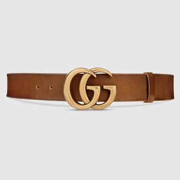 GUCCI Fashion Women Men Double G Smooth Buckle Leather Belt Brown I/A