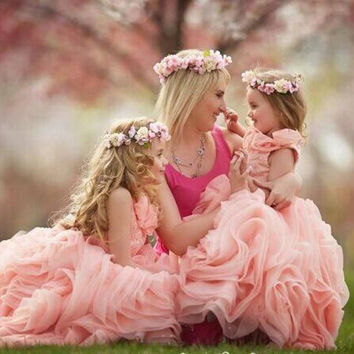 Lovely Pink Pageant Dresses For Little Girls Flower Girl Dress 2016 Ball Gown Organza Kids Evening Gowns Vestidos de Daminha