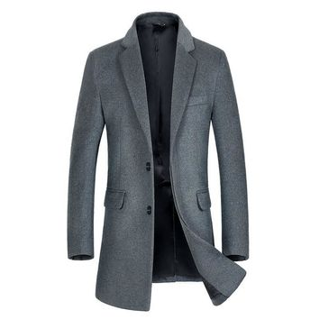 Winter Trench Coat Men New Men's Long Wool Trench Coat Single Breasted Pea Coat Windbreaker Overcoat Manteau Homme