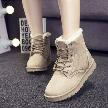 Fashion flat round snow boots cotton boots