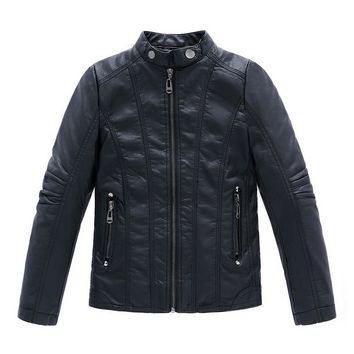 Boys Coat New 2017 Winter PU Leather Solid Black Thick Child Casual Jacket For Boys Spring Autumn Kids Jackets And Coats 3-13Y