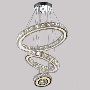 Modern K9 Large Led Round Living Room Crystal Chandeliers Light Fixtures For Staircase Stair Lamp Indoor Home Vallkin
