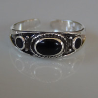 Onyx 925 Sterling Silver Adjustable Toe Ring Oval Circle Design