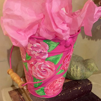 Lilly pulitzer inspired metal bucket. Easter basket