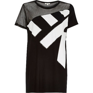 River Island Womens Black mesh panel side split t-shirt