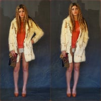 Vintage lapin rabbit fur jacket / Palomino fall winter coat white taupe soft fluffy warm Almost Famous
