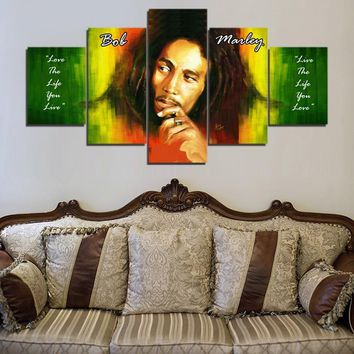 5 Pieces Bob Marley Music Wall Art Canvas Pictures For Living Room Bedroom Home Decor Printed Canvas Paintings