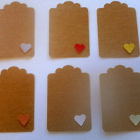 20 Handmade Paper Tags with Hearts, Card Stock Gift Tags, Wedding Favor Tags, Valentine Party Tags