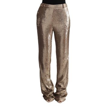 Gold Viscose Sequined Bootcut Pants