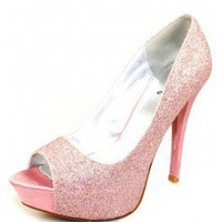 LIGHT-PINK GLITTER PEEP TOE HEELS @ KiwiLook fashion