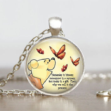"Glass Tile Pendant Winnie the Pooh Necklace Pooh Jewelry Glass Tile Pendant Winnie Pooh Wisdom Necklace 1"" Silver Round"