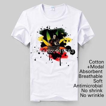 brand new bob marley non-poison printing canabis men women size cotton t shirt causal style
