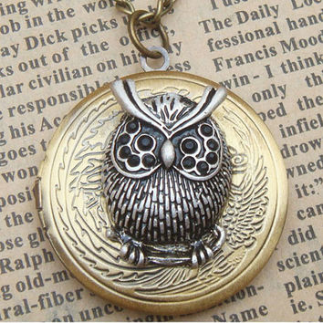 Steampunk Silver Owl Locket Necklace Vintage Style by sallydesign