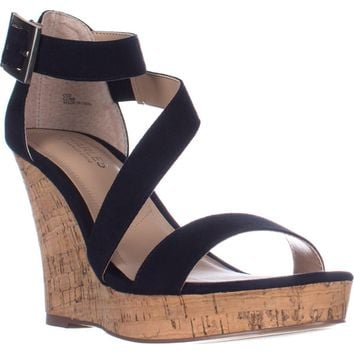 Charles Charles David Leanna Strappy Wedge Sandals, Navy, 11 US
