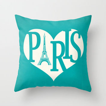 Paris Pillow Cover Turquoise Pillow Eiffel Tower Pillow Heart Pillow Decorative Pillow Love Throw Pillow - Your Color Choice 16 x 16