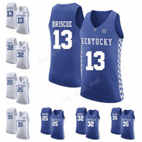 Kentucky Wildcats College 13 Isaiah Briscoe Jersey Men 35 Derek Willis 32 Wenyen Gabriel Basketball Jerseys 25 Dominique Hawkins Blue White