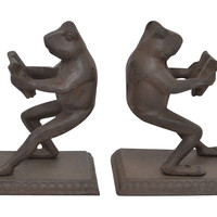 Pair of Cast Iron Frog Bookends, Brown, Bookends