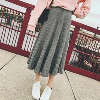 Plain Rib-Knit Midi Skirt