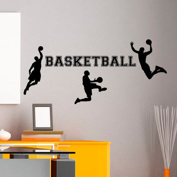 Basketball Wall Decal Sports Man Basketball Player Sport Gym Wall Decals Vinyl Stickers Teens Boys Room College Wall Art Home Decor Q124