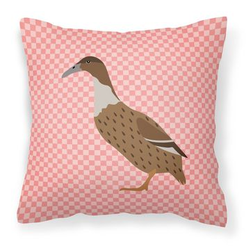 Dutch Hook Bill Duck Pink Check Fabric Decorative Pillow BB7861PW1414