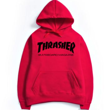 Womens Red THRASHER Hooded Sweatshirt