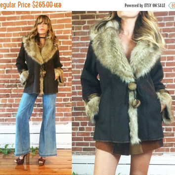SALE Vintage 1970's Faux Mink Fur POM POM Shawl Collar Vegan Suede Boho Hippie Coat || Ladies Size Medium