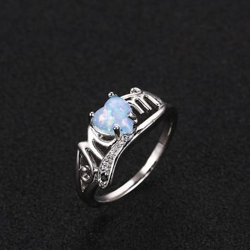 STYLEDOME Mother's Day Love Heart Opal Mom Rings for Women