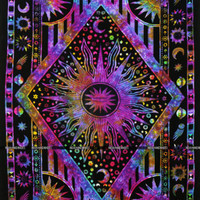 Magical thinking hippie celestial sun and moon tie dye tapestry Indian bedspread