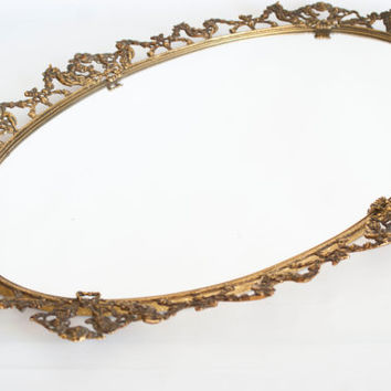 Vintage XL Vanity Tray Mirror, Victorian Style Wall Mirror, Ornate Gold Tone Oval Perfume Tray, Cherub with Glass Handle