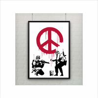 CND Soldiers by Banksy Print / Graffiti Art / US Letter-A4 up to A0 size / Street Art / Wall Art / Provocative Humor / Contemporary Decor