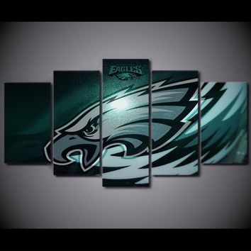 5 Piece Wall Art Posters Pictures Canvas Painting Prints Wall Decor Philadelphia Eagles Rugby Logo Art HD Print Poster Pictures