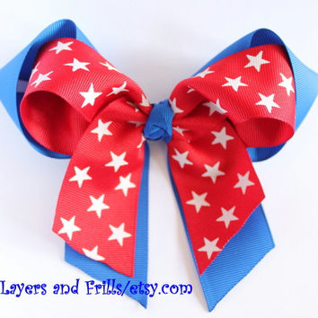 Extra large 4th of July Hair bow, Red white and blue hairbow, patriotic cheerleading bow, star hair bow
