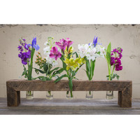 Five Bottle Floating Wood Flower Stand