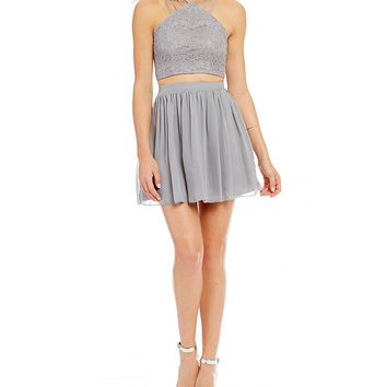 Xtraordinary Strappy Y-Neck Lace Top Two-Piece Dress | Dillards