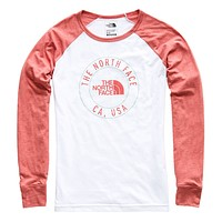 Women's Long Sleeve Malibae Tri-Blend Tee in TNF White Heather & Faded Rose Heather by The North Face