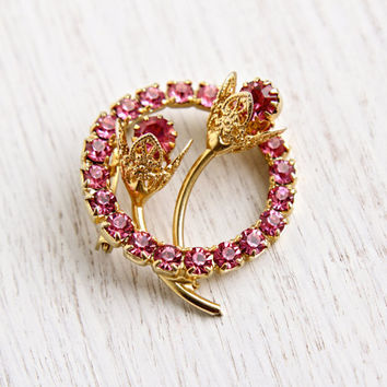 Vintage Pink Rhinestone Flower Brooch - Retro Gold Tone Wreath Costume Jewelry Pin / Floral Filigree