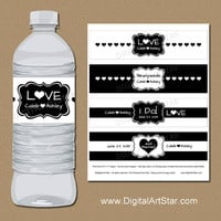 Black and White Wedding Water Bottle Labels - Printable Bridal Party Decorations - Personalized Water Bottle Wrappers - Wedding Drink Wraps